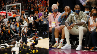 NBA Fans React To Picture Of LeBron James Watching His Best Friend Chris Paul Getting Dunked On By Giannis Antetokounmpo During Game 5 Of NBA Finals