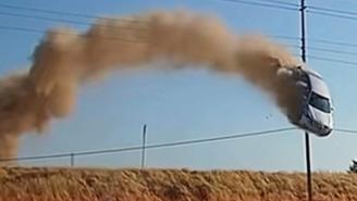 Dashcam Captures Insane Footage Of Car FLYING Over Highway, Just Missing Power Lines Before Crash Landing