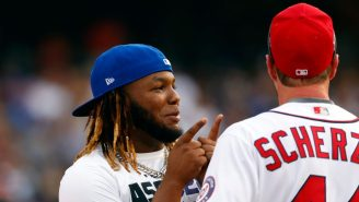 Vlad Guerrero Jr. Gave Max Scherzer A Big Bear Hug After Nearly Taking His Head Off With A Line Drive