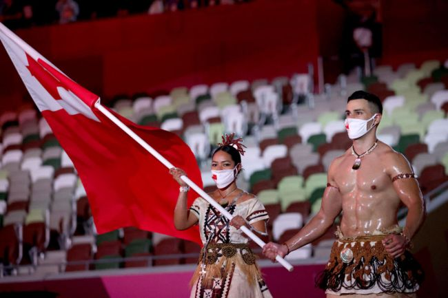 Tonga Flag Bearer Opening Ceremony - Olympics: Day 0