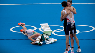 Norwegian Triathlete Celebrates Gold Medal Win By Puking All Over The Finish Line At The Olympics