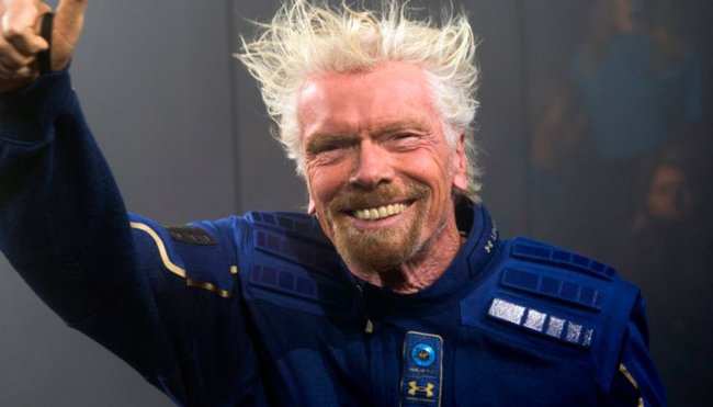 Richard Branson beating Jeff Bezos space