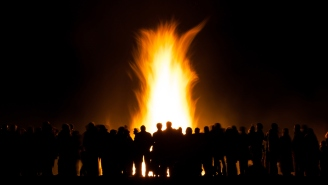 Guys Demonstrate Why You Shouldn't Use A Gas Tank To Start A Bonfire By Using A Gas Tank To Light A Huge Bonfire