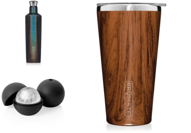 This is a picture of a BruMate Pint Glass, a Brumate refillable water bottle, and a Brumate ice ball