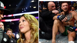 Dustin Poirier's Wife Flipped Off An Injured Conor McGregor While He Was Still Sitting In The Cage Waiting To Get Carted Off
