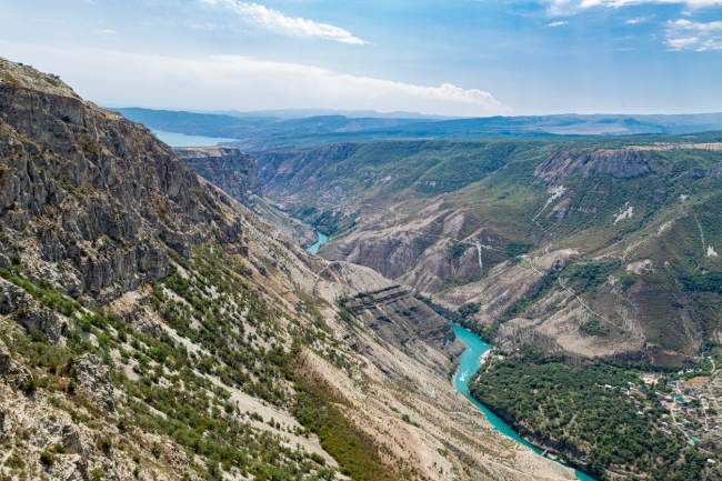 Sulak river in Sulak canyon behind the dam of the Chirkei hydroelectric power station. Dagestan, North Caucasus, Russia.