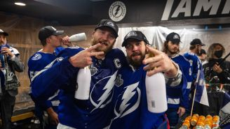 A Shirtless Nikita Kucherov Crushing Bud Light Torched Habs Fans In A Legendary Stanley Cup Press Conference