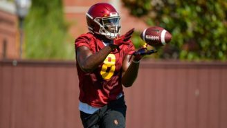 WATCH: USC Freshman TE Michael Trigg Is An Absolute Freak Of Nature, Cannot Be Tackled