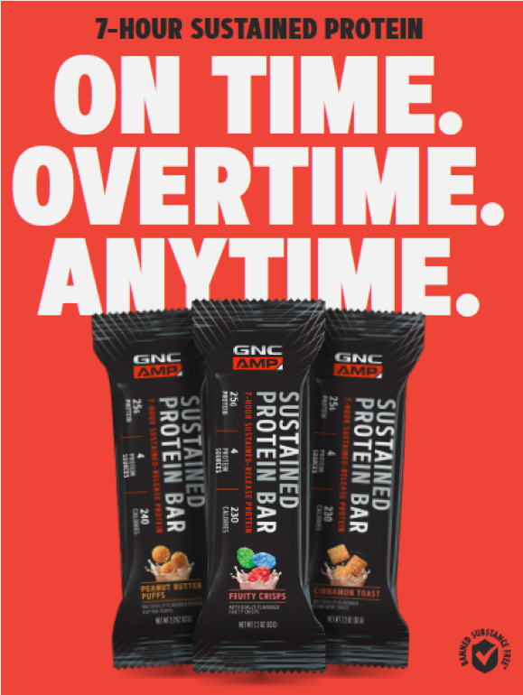 GNC AMP Sustained Protein Bars