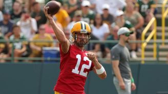 Aaron Rodgers Made A Ridiculous Throw At Training Camp And Reminded Everyone That He's Still Got It