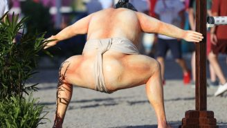 A Life-Sized Sumo Wrestler Statue's Butt Is Scaring Horses At The Olympics, Wreaking Havoc In Equestrian