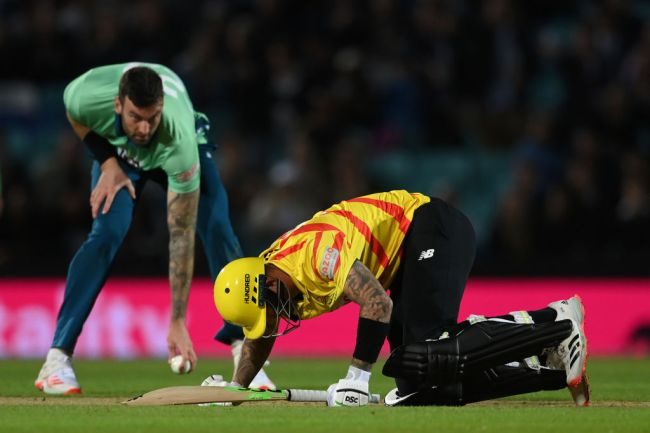 LONDON, ENGLAND - AUGUST 08: Alex Hales of Trent Rockets Men is hit in the most painful spot for the second ball in a row from Reece Topley of Oval Invincibles Men during The Hundred match between Oval Invincibles Men and Trent Rockets Men at The Kia Oval on August 08, 2021 in London, England.