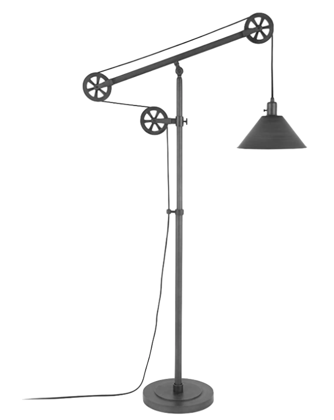 Henn&Hart Modern Industrial Pulley System Aged Steel Floor Lamp