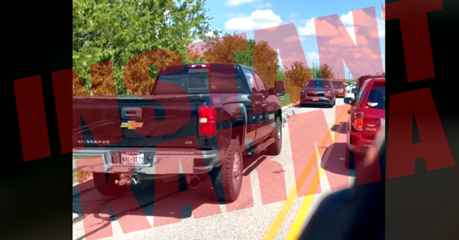 Instant Karma Delivered As Driver Tries To Cut In Line In TikTok Video