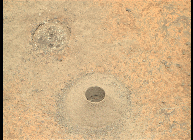 Perseverance Rover NASA Rock Drill Hole