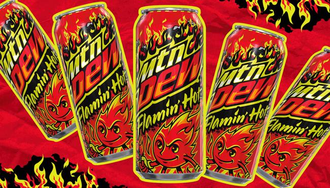 Mountain Dew Flamin Hot Cheetos flavor