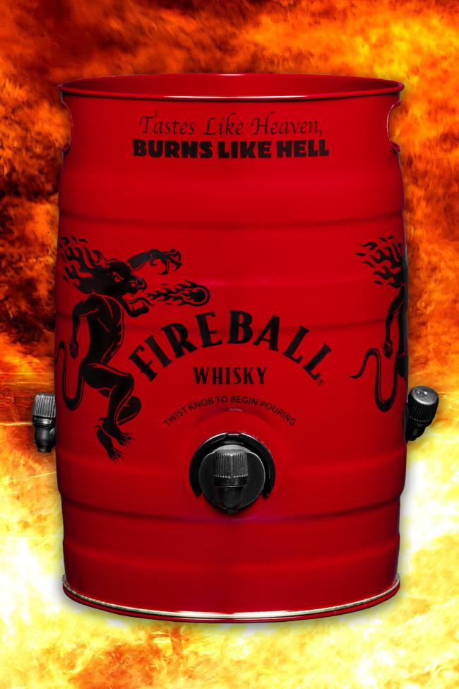 Fireball whiskey keg