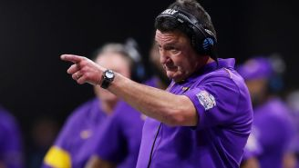 Video Shows LSU HC Ed Orgeron Absolutely Roasting Trash Talking UCLA Fan 'Bring Your Ass On, In Your Sissy Blue Shirt'