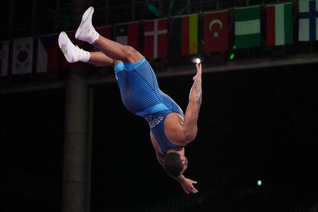 Gable Steveson WWE Backflip Gold Medal Tokyo Olympics