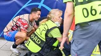 Cristiano Ronaldo OBLITERATED A Steward With A Warmup Kick, But He Made Good On The Accident