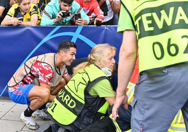 Cristiano Ronaldo Security Guard Steward Head Hit Warmup Kick