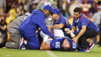Giants O-Lineman Nick Gates Suffers Gruesome Leg Injury During Game Vs WFT On TNF