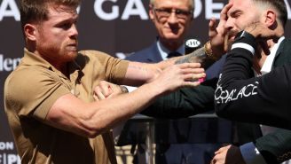 Canelo Alvarez Cut Caleb Plant's Face With Punch During Heated Press Conference Altercation