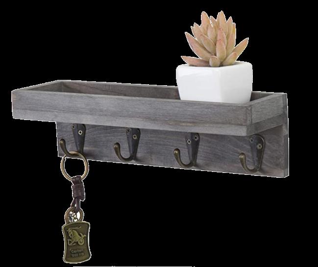 MyGift Floating Shelf with 4 Antique Metal Hooks