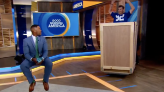 Eli Manning Jumped Out Of A Box On Live TV To Tell Michael Strahan That His Number Is Being Retired