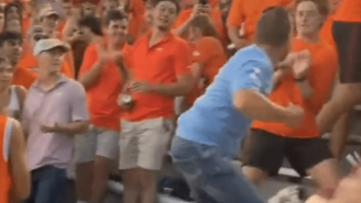 Wild Video Shows UNC Dad Fight Entire Virginia Tech Student Section Over Flying Objects