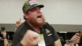Luke Combs Partying In The Locker Room After App State's Season Opener Is Why He's The Best