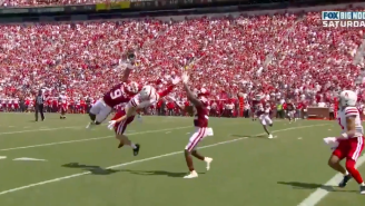 Oklahoma Made The Most INSANE One-Handed Interception And Gus Johnson Had His Mind Blown