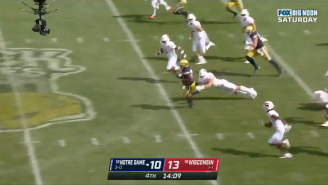 WATCH: Notre Dame Scores On A 96-Yard Kick Return AND GUS JOHNSON GOES BANANAS