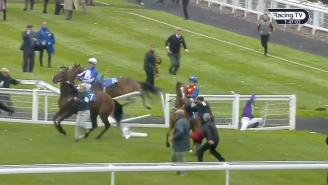 Crazy Video Shows Champion Jockey Get Thrown From Horse, Go Face First Into Railing