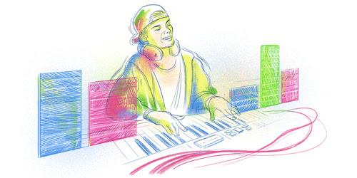 Google Doodle drawing of Avicii