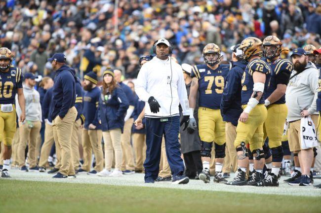 navy football fires rehires coach