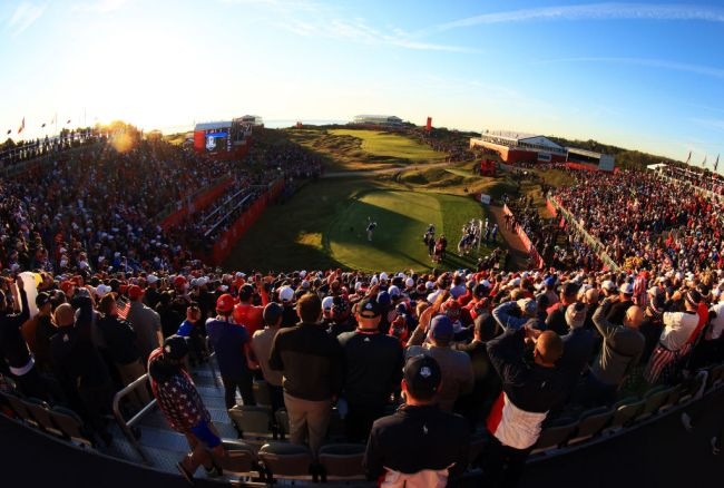 ryder cup first hole whistling straits fan videos