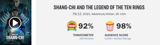 shang chi rotten tomatoes