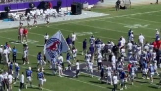 Brawl Nearly Breaks Out After SMU Tried To Disrespectfully Plant Their Flag At Midfield Near TCU Players