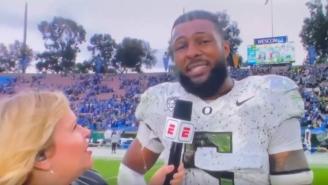 Oregon DE And Potential #1 Pick Kayvon Thibodeaux Drops F-Bomb During Live ESPN Interview After Monster Game Vs UCLA