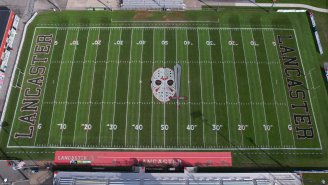 LOOK: This NY High School's Spooky 'Halloween' Football Field Design Is Incredible