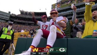 Taylor Heinicke Doing A Lambeau Leap After Costing His Team A Touchdown Was Super Awkward
