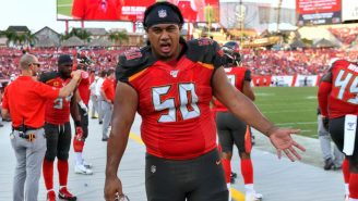 LOOK: Vita Vea Struggling To Get His Jersey Off For A Postgame Swap Is Absolutely Hysterical