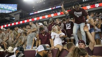 On-Field Video Shows Police Officer WRECK A&M Fan's World While Escorting Nick Saban Off Kyle Field