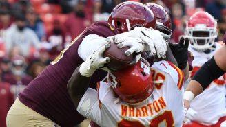 WATCH: Chiefs' Tershawn Wharton Pins Ball To Opponent's Helmet During INSANE Big Man Interception