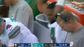 LOOK: Jacoby Brissett SMASHES Tablet After Chaotic Strip-Sack Turnover
