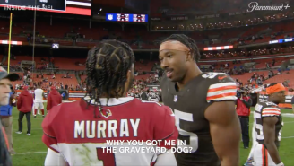 Kyler Murray Caught On Hot Mic Asking Myles Garrett Why He's Included In Graveyard Decorations