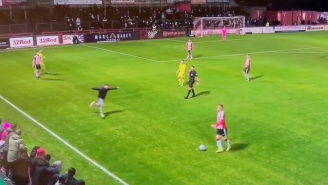 Hilarious Video Showing Rogue Soccer Fan Run Onto Field, Deliver Tremendous Slide Tackle Is Peak England
