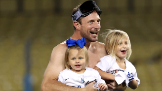 A Shirtless, Well-Lubricated Max Scherzer Stole The Show During The Dodgers' Wild Card Celebration