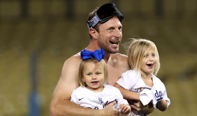 Shirtless Max Scherzer Interviewed During Dodgers Wild Card Celebration